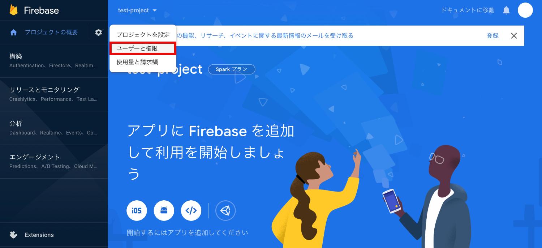 firebaseユーザーと権限設定画面